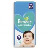 PAMPERS PIELUSZKI ACTIVE BABY ROZMIAR 3 6-10 KG 54 SZTUKI