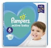 PAMPERS PIELUSZKI ACTIVE BABY ROZMIAR 6 13-18 KG 32 SZTUKI